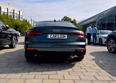 Audi RS5 mit CarSign Edelstahl lackiert in Wagenfarbe Daytonagrau