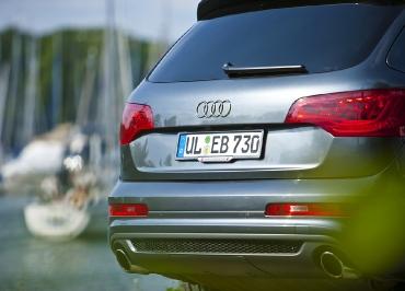 Nummernschildhalter Edelstahl lackiert und Firmen-Inlay für Audi Q7