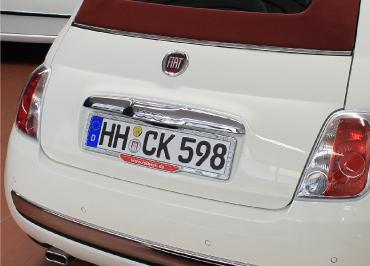 Kennzeichenhalter FIAT 500 mit Edelstahl Chrom und Firmen Inlay Fuhrpark