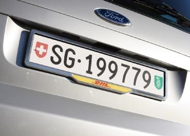 Kontrollschild FORD Kennzeichenhalter mit Schweizer Größe Heck