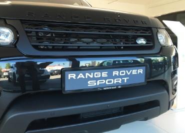 Range Rover Kennzeichenhalter CarSign Edelstahl schwarz-glanz und Lasergravur