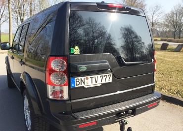 Land Rover Kennzeichenhalter Edelstahl schwarz glanz und Inlay