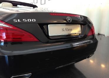 Mercedes SL 500 Kennzeichenhalter Edelstahl Chrom mit Heckbiegung