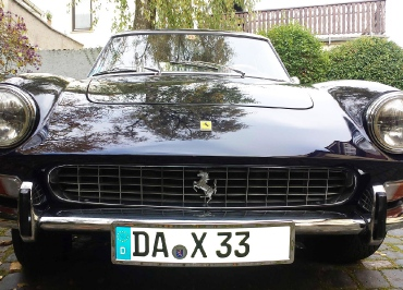 Ferrari 330 GT S+2   Kennzeichenhalterung  Edelstahl Chrom