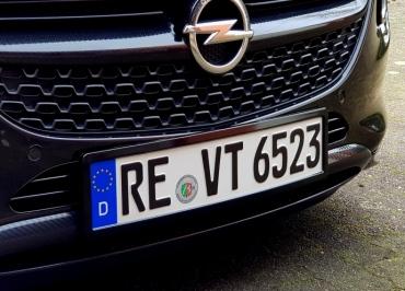 Opel Adam Kennzeichenhalter Edelstahl schwarz glanz