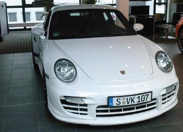 Porsche Kennzeichenhalter Edelstahl schwarz-glanz für GT2 Front