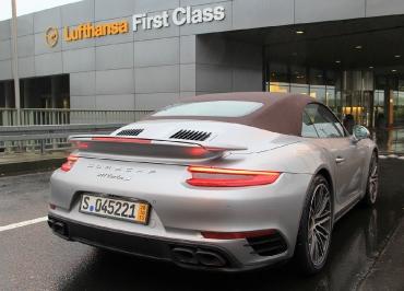 Porsche Turbo S Cabriolet Kennzeichenhalter Edelstahl schwarz-glanz