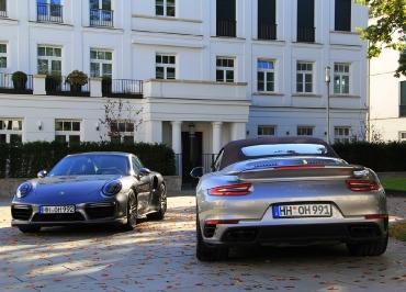 Porsche 911 Turbo S CarSign schwarz-glanz Kennzeichenverstaerker