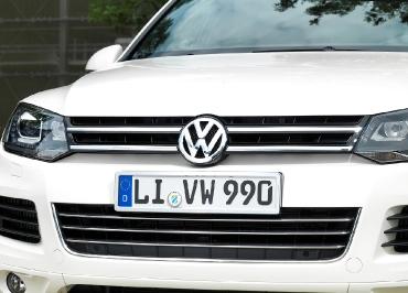 VW Touareg Volkswagen Kennzeichenhalter Edelstahl Chrom